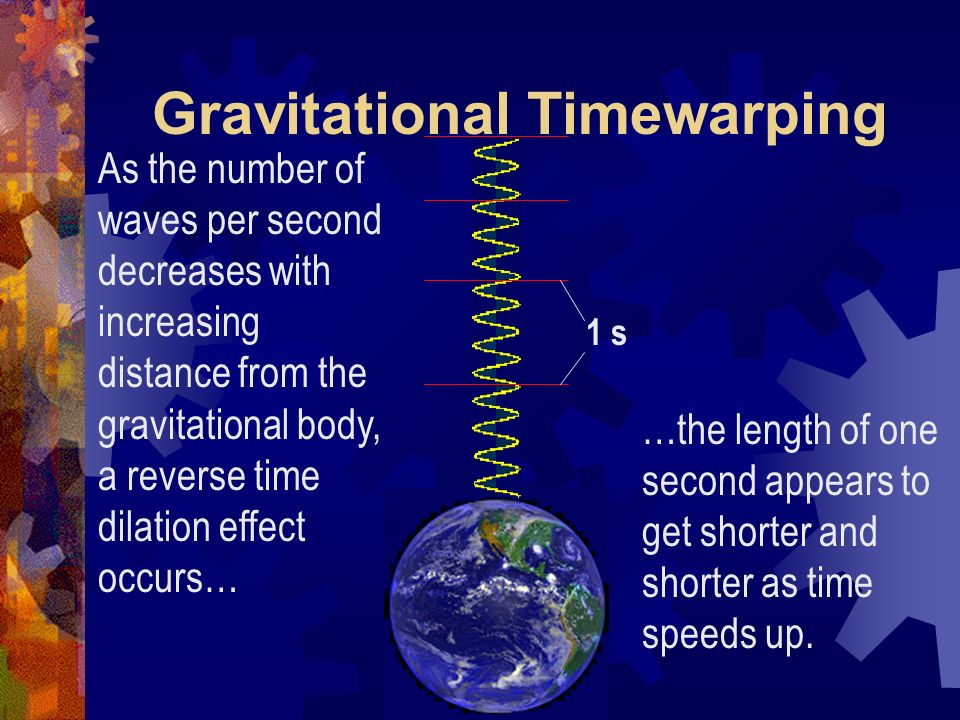 Gravitational Timewarping Since frequency is a measure of the number of waves per second, a lowering of frequency as a result of the gravitational red-shift would also mean a reduction in the number of waves per second.