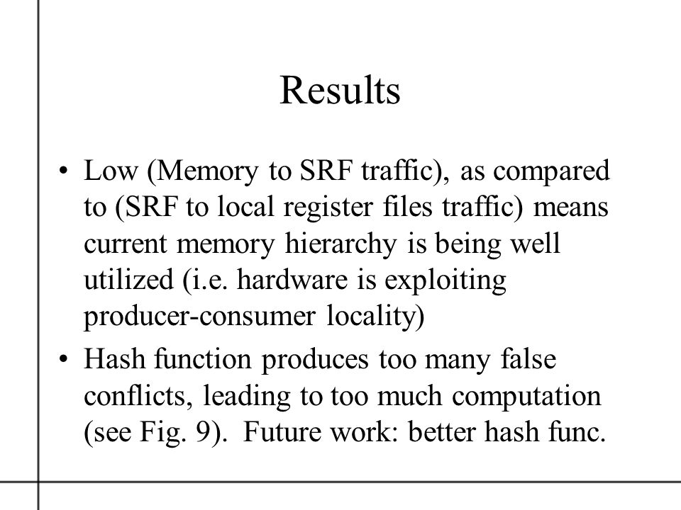 Results Low (Memory to SRF traffic), as compared to (SRF to local register files traffic) means current memory hierarchy is being well utilized (i.e.