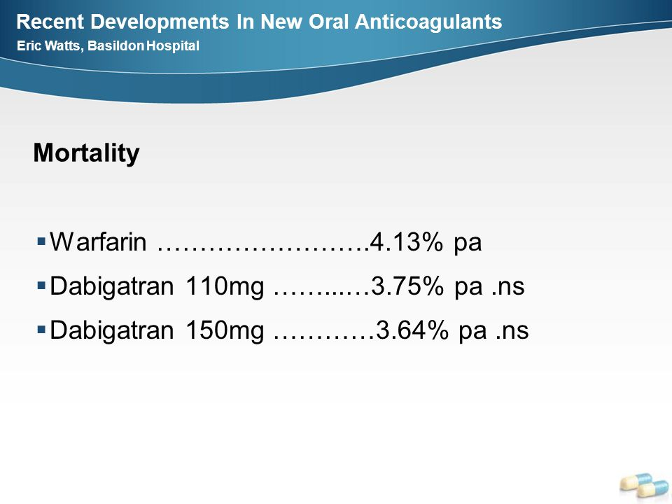 Recent Developments In New Oral Anticoagulants Eric Watts, Basildon Hospital Warfarin …………………….4.13% pa Dabigatran 110mg ……...…3.75% pa.ns Dabigatran