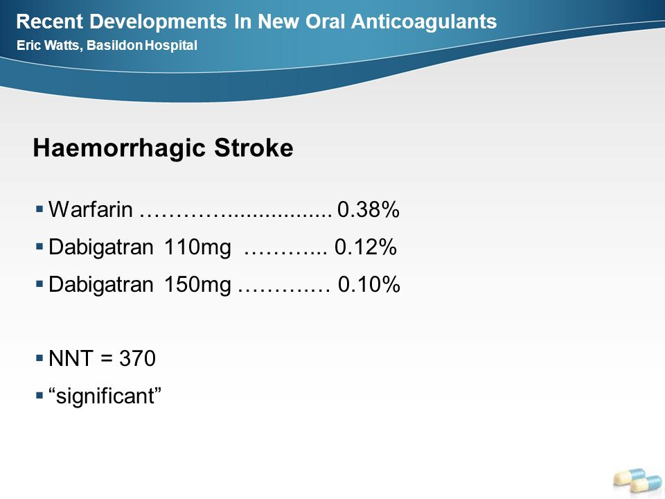 Recent Developments In New Oral Anticoagulants Eric Watts, Basildon Hospital Haemorrhagic Stroke Warfarin …………................. 0.38% Dabigatran 110mg