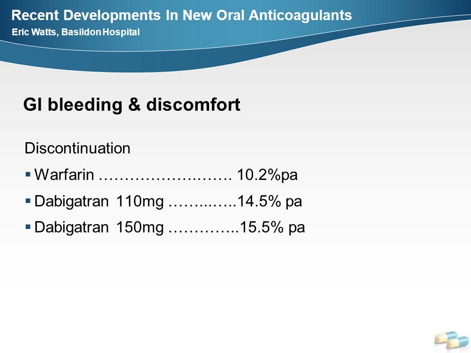 Recent Developments In New Oral Anticoagulants Eric Watts, Basildon Hospital GI bleeding & discomfort Discontinuation Warfarin ……………….……. 10.2%pa Dabi