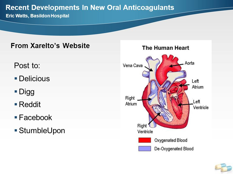 Recent Developments In New Oral Anticoagulants Eric Watts, Basildon Hospital From Xareltos Website Post to: Delicious Digg Reddit Facebook StumbleUpon