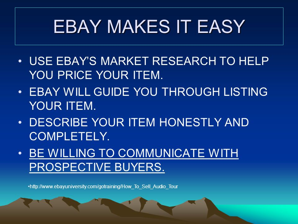 EBAY MAKES IT EASY USE EBAYS MARKET RESEARCH TO HELP YOU PRICE YOUR ITEM.