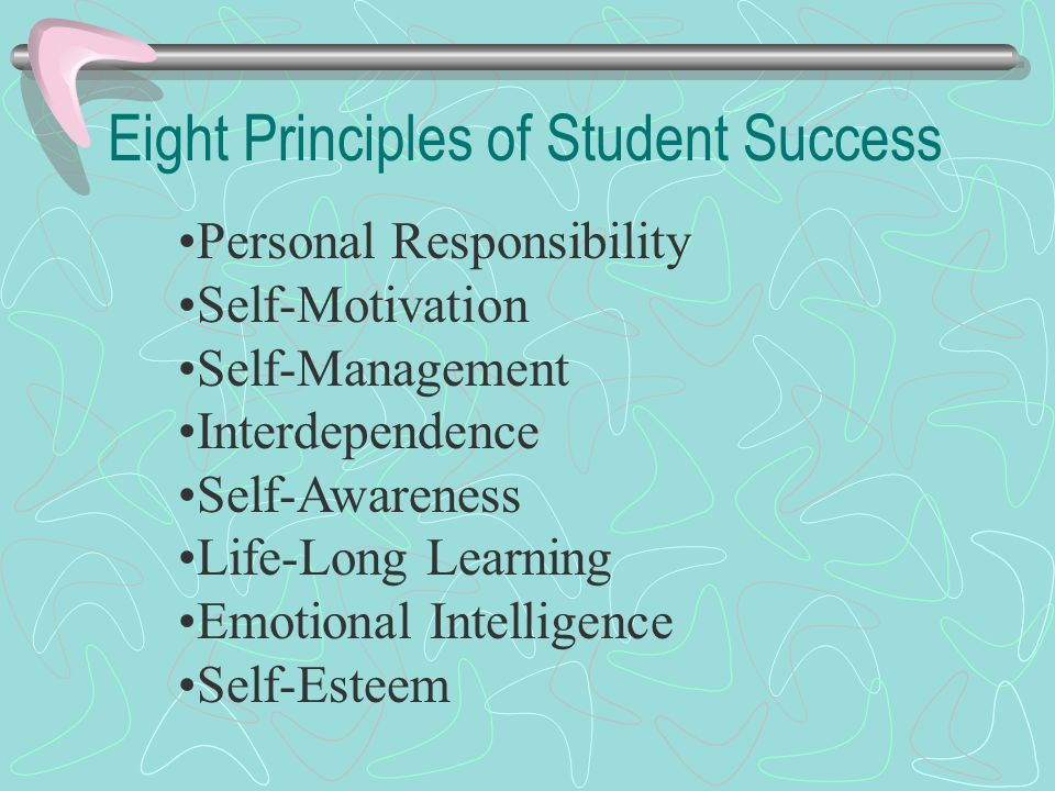 Eight Principles of Student Success Personal Responsibility Self-Motivation Self-Management Interdependence Self-Awareness Life-Long Learning Emotiona