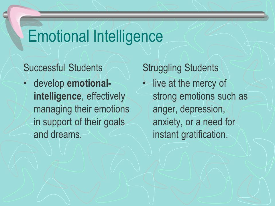 Emotional Intelligence Successful Students develop emotional- intelligence, effectively managing their emotions in support of their goals and dreams.