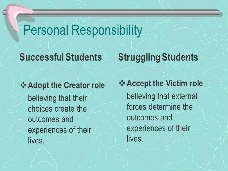 Personal Responsibility Successful Students Adopt the Creator role believing that their choices create the outcomes and experiences of their lives. St
