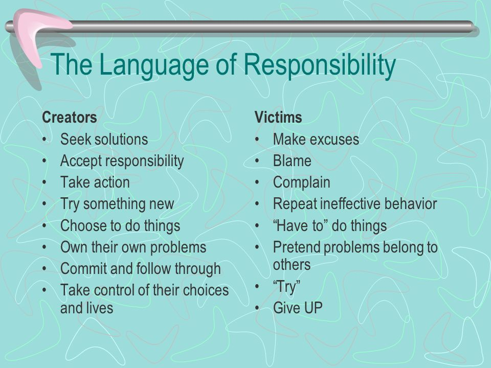 The Language of Responsibility Creators Seek solutions Accept responsibility Take action Try something new Choose to do things Own their own problems