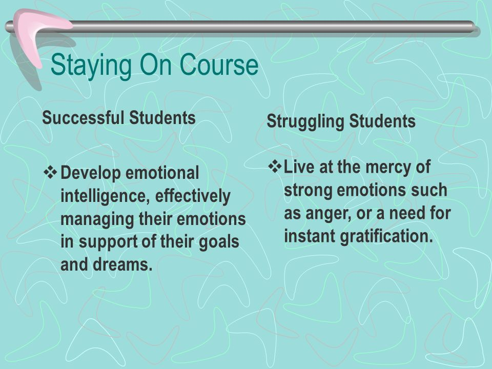 Staying On Course Successful Students Develop emotional intelligence, effectively managing their emotions in support of their goals and dreams. Strugg