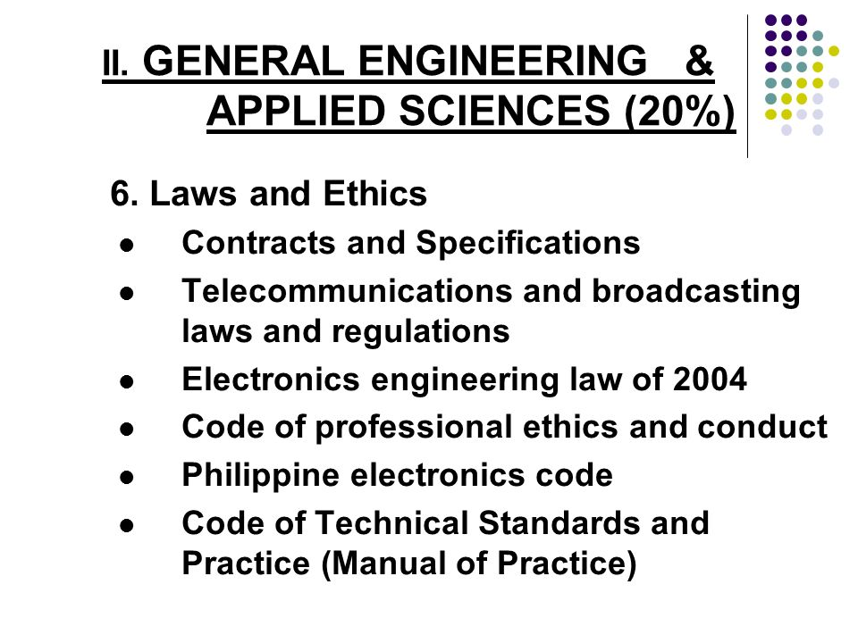 II. GENERAL ENGINEERING & APPLIED SCIENCES (20%) 6. Laws and Ethics Contracts and Specifications Telecommunications and broadcasting laws and regulati