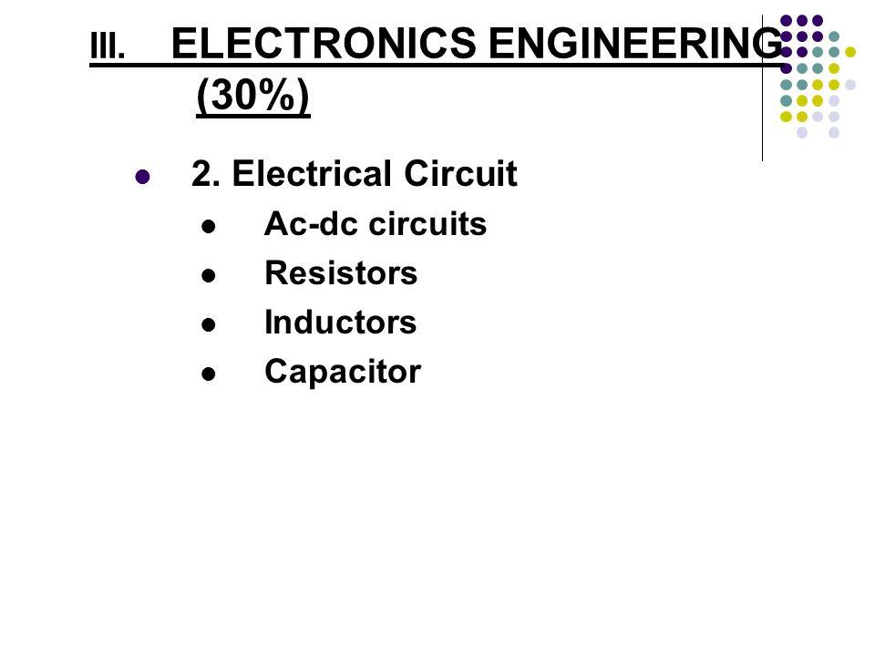 III. ELECTRONICS ENGINEERING (30%) 2. Electrical Circuit Ac-dc circuits Resistors Inductors Capacitor