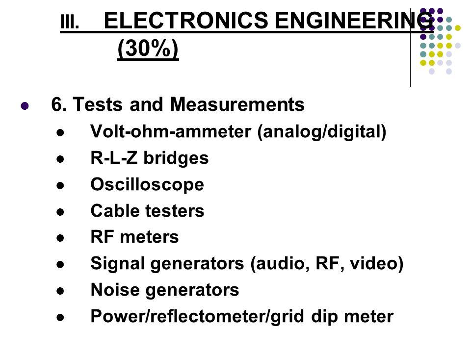 6. Tests and Measurements Volt-ohm-ammeter (analog/digital) R-L-Z bridges Oscilloscope Cable testers RF meters Signal generators (audio, RF, video) No