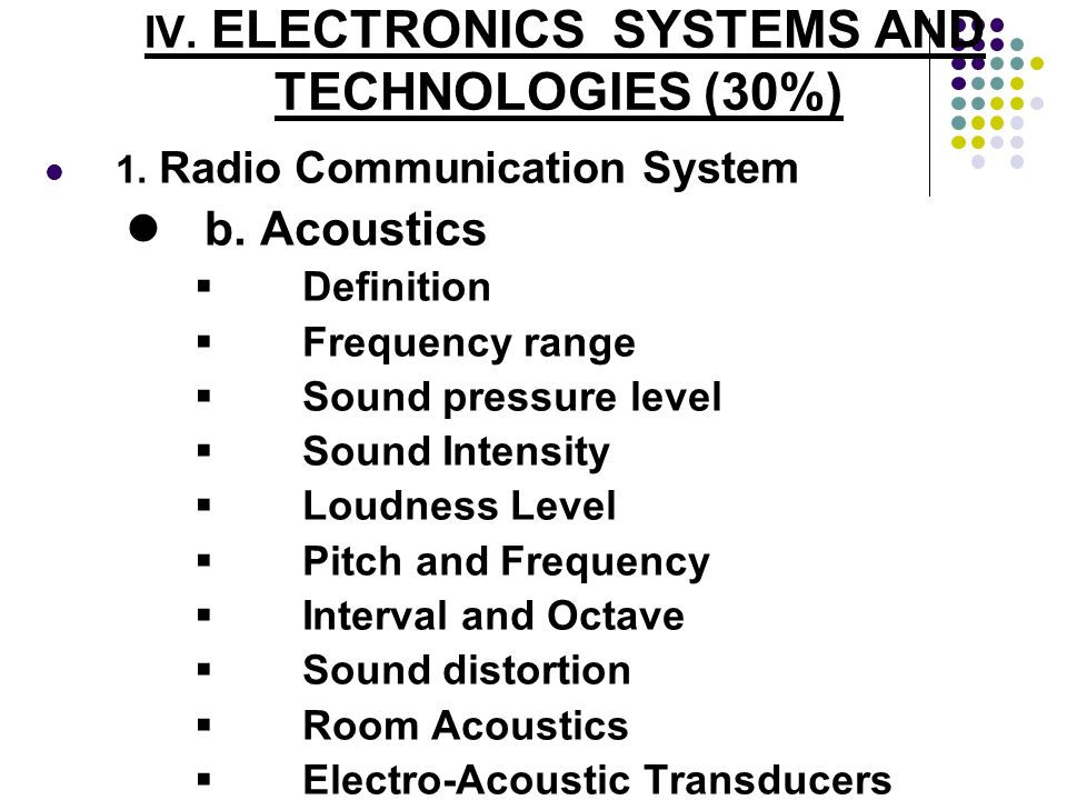 IV. ELECTRONICS SYSTEMS AND TECHNOLOGIES (30%) 1. Radio Communication System b. Acoustics Definition Frequency range Sound pressure level Sound Intens