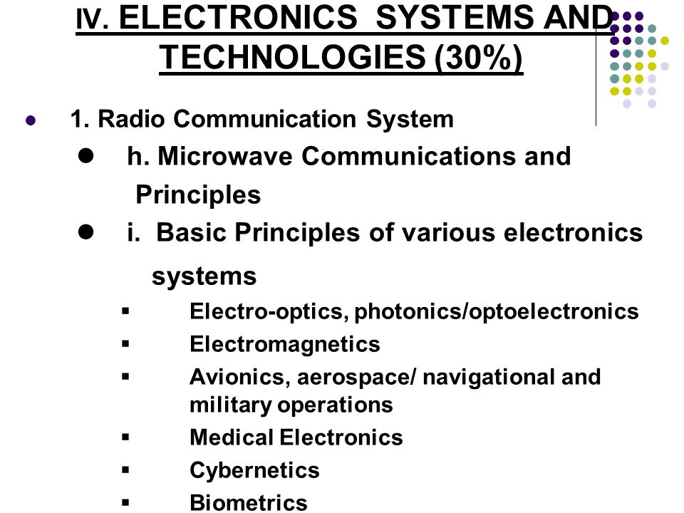 IV. ELECTRONICS SYSTEMS AND TECHNOLOGIES (30%) 1. Radio Communication System h. Microwave Communications and Principles i. Basic Principles of various