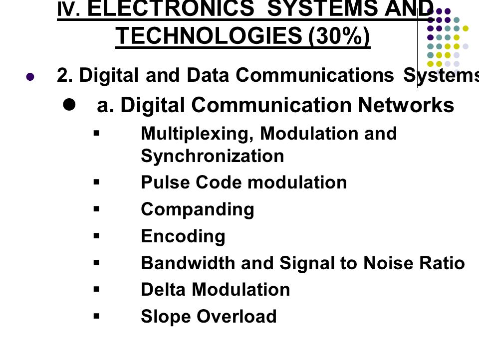 IV. ELECTRONICS SYSTEMS AND TECHNOLOGIES (30%) 2. Digital and Data Communications Systems a. Digital Communication Networks Multiplexing, Modulation a