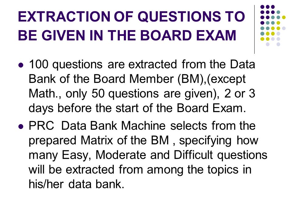 EXTRACTION OF QUESTIONS TO BE GIVEN IN THE BOARD EXAM 100 questions are extracted from the Data Bank of the Board Member (BM),(except Math., only 50 q