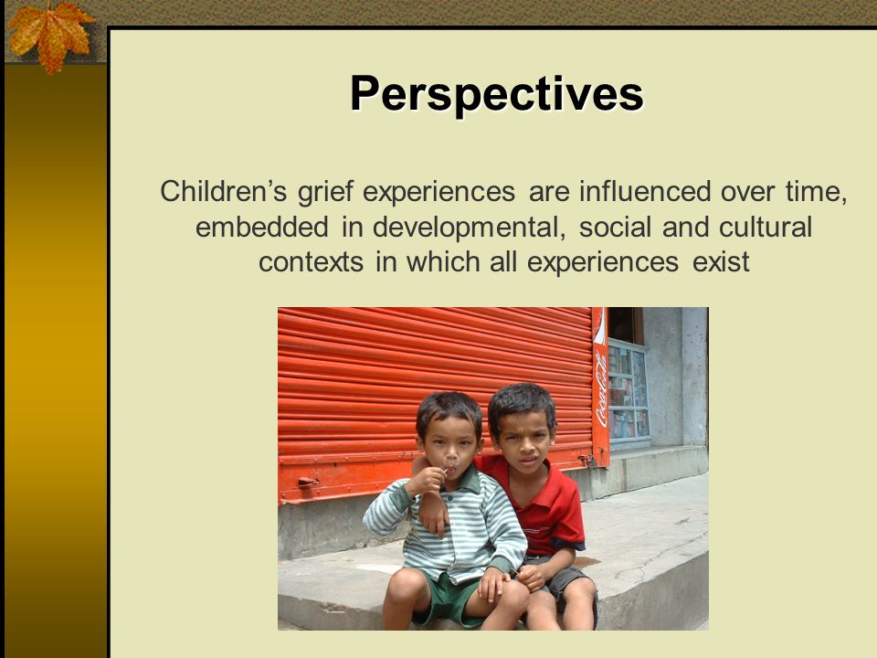 Perspectives Childrens grief experiences are influenced over time, embedded in developmental, social and cultural contexts in which all experiences ex