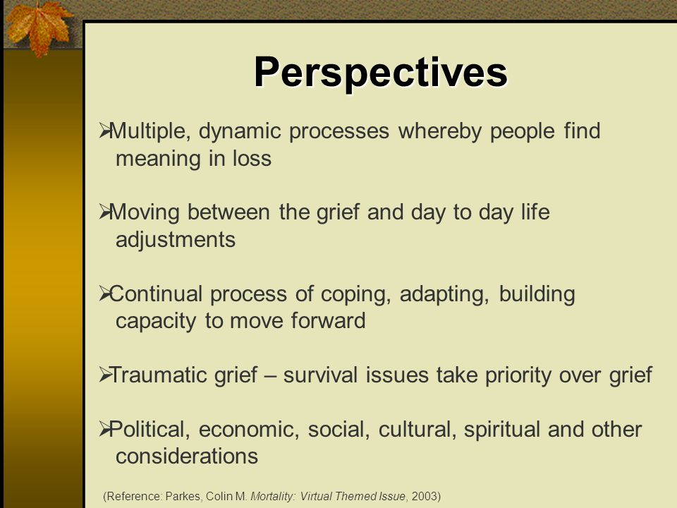 Perspectives …restoring the fit between the world that is and the world that should be…