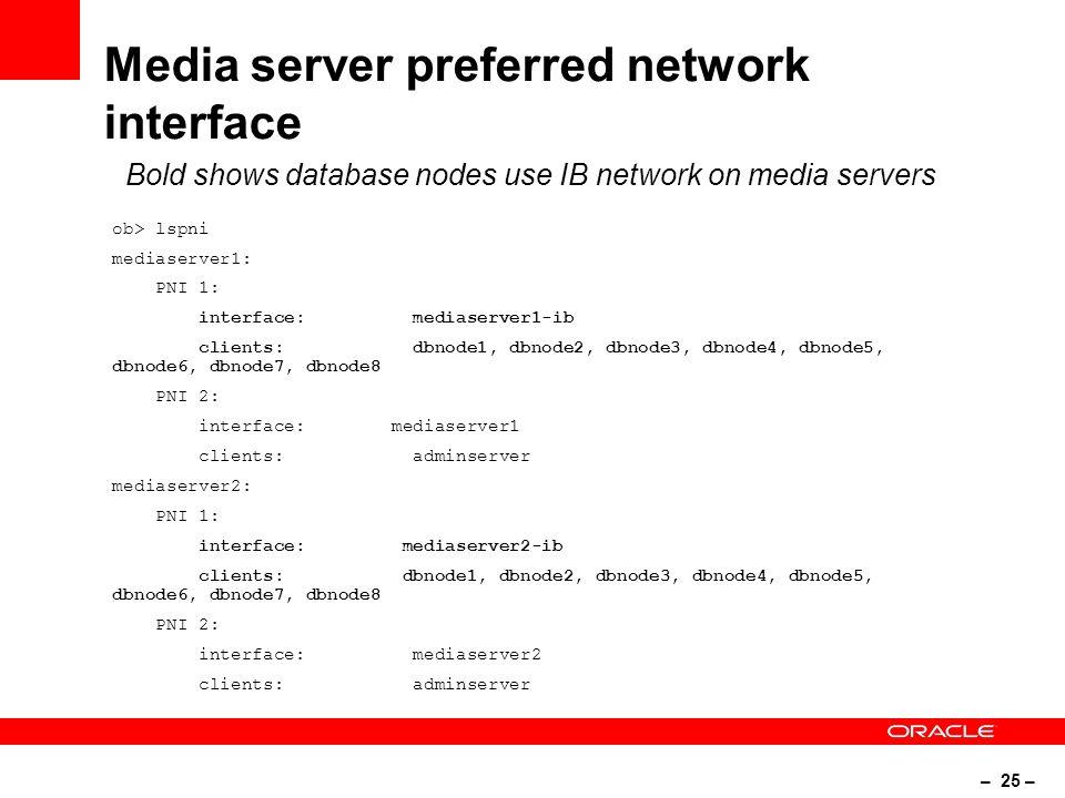 – 25 – Media server preferred network interface ob> lspni mediaserver1: PNI 1: interface: mediaserver1-ib clients: dbnode1, dbnode2, dbnode3, dbnode4, dbnode5, dbnode6, dbnode7, dbnode8 PNI 2: interface: mediaserver1 clients: adminserver mediaserver2: PNI 1: interface: mediaserver2-ib clients: dbnode1, dbnode2, dbnode3, dbnode4, dbnode5, dbnode6, dbnode7, dbnode8 PNI 2: interface: mediaserver2 clients: adminserver Bold shows database nodes use IB network on media servers