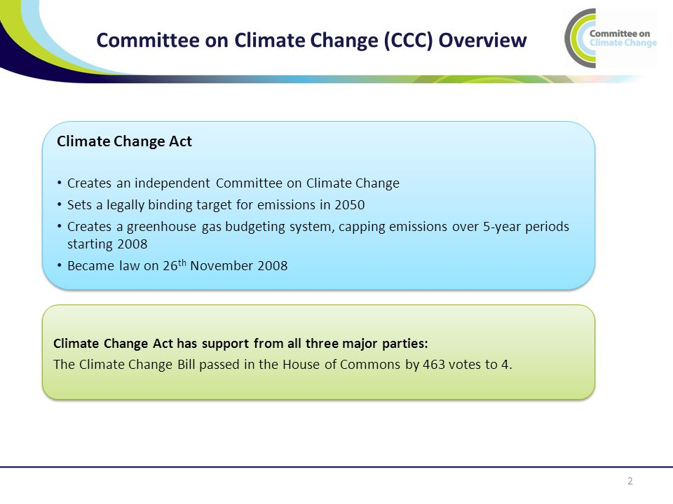 Committee on Climate Change (CCC) Overview 2 Climate Change Act Creates an independent Committee on Climate Change Sets a legally binding target for emissions in 2050 Creates a greenhouse gas budgeting system, capping emissions over 5-year periods starting 2008 Became law on 26 th November 2008 Climate Change Act Creates an independent Committee on Climate Change Sets a legally binding target for emissions in 2050 Creates a greenhouse gas budgeting system, capping emissions over 5-year periods starting 2008 Became law on 26 th November 2008 Climate Change Act has support from all three major parties: The Climate Change Bill passed in the House of Commons by 463 votes to 4.