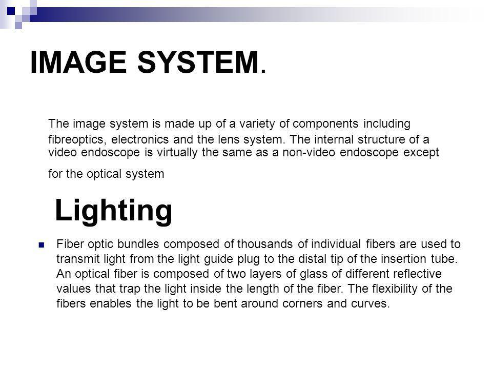 IMAGE SYSTEM. The image system is made up of a variety of components including fibreoptics, electronics and the lens system. The internal structure of