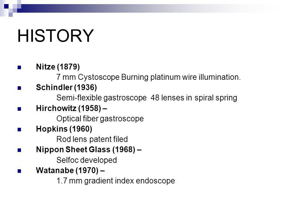 The first endoscope using a miniature lens system was a cystoscope designed by Nitze with the help of an optician from Berlin and an instrument designer from Vienna.