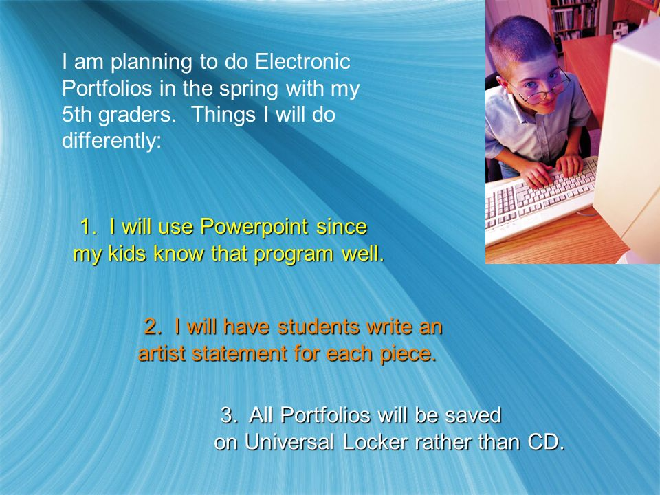 I am planning to do Electronic Portfolios in the spring with my 5th graders.