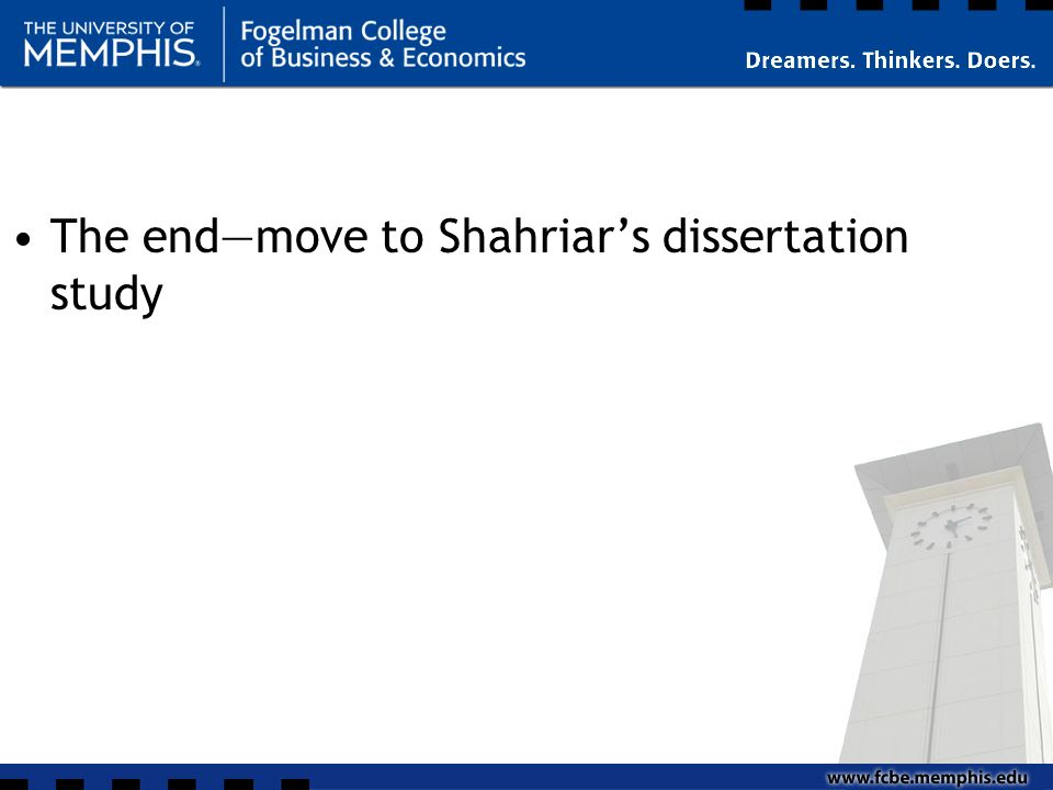 The endmove to Shahriars dissertation study