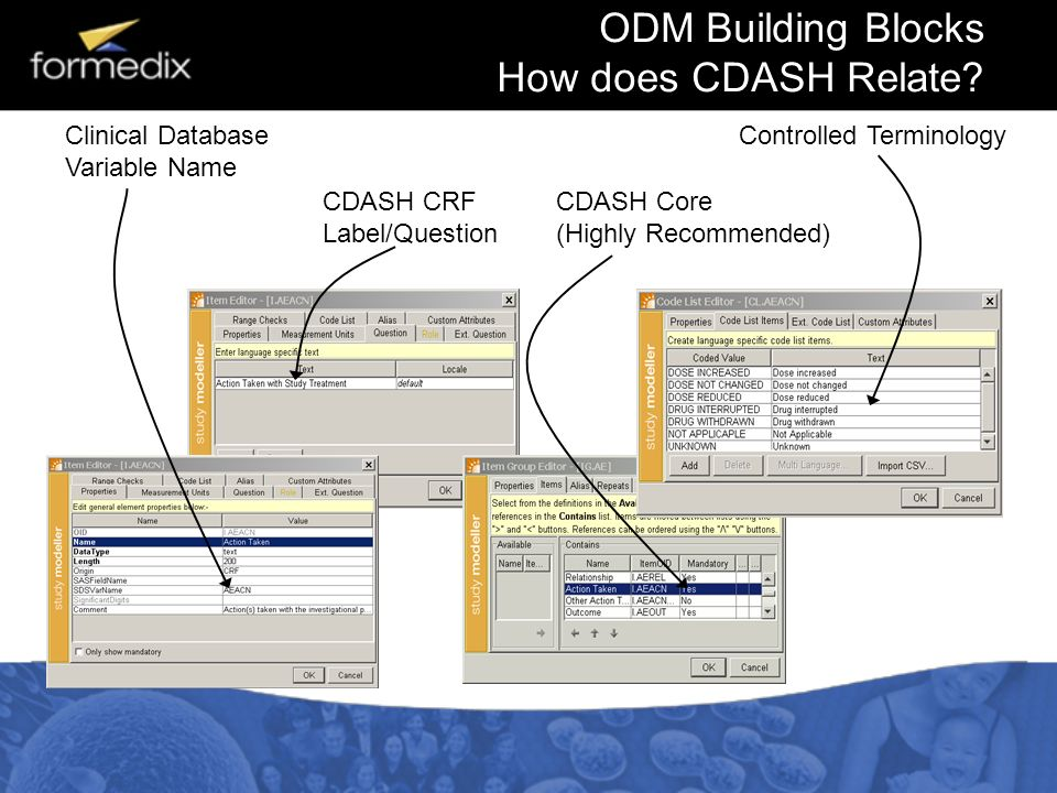 ODM Building Blocks How does CDASH Relate? Clinical Database Variable Name CDASH CRF Label/Question CDASH Core (Highly Recommended) Controlled Termino