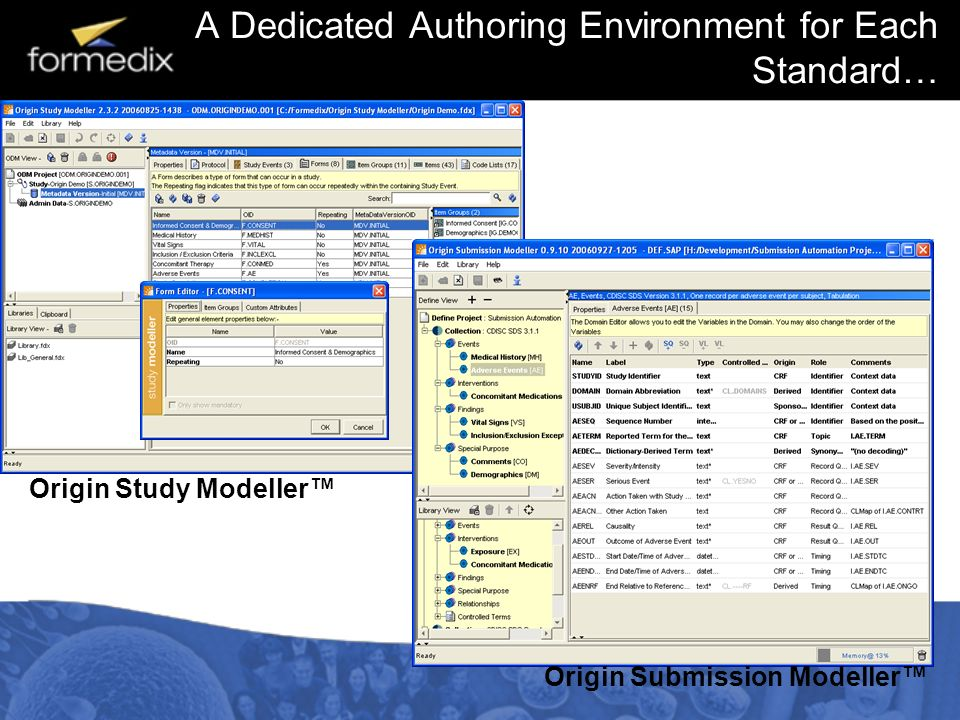 A Dedicated Authoring Environment for Each Standard… Origin Study Modeller Origin Submission Modeller
