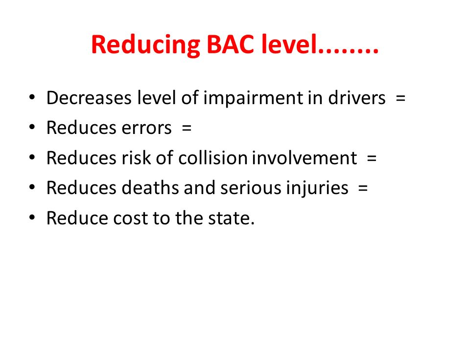 Reducing BAC level........