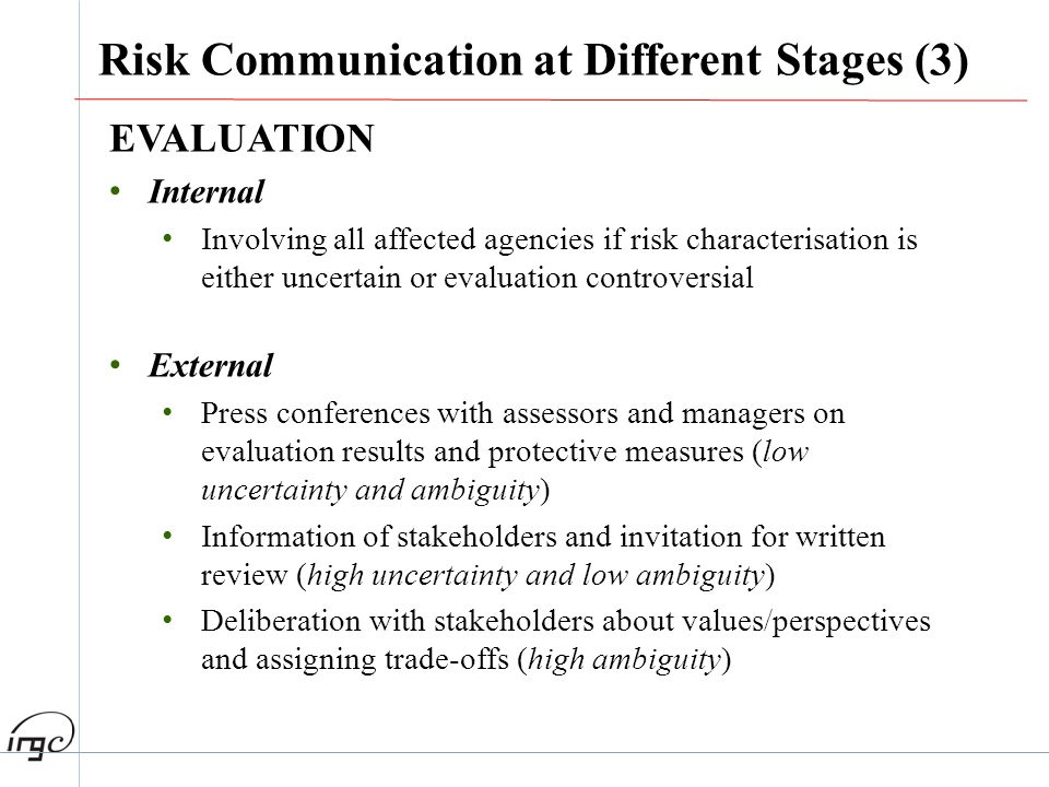 EVALUATION Internal Involving all affected agencies if risk characterisation is either uncertain or evaluation controversial External Press conference
