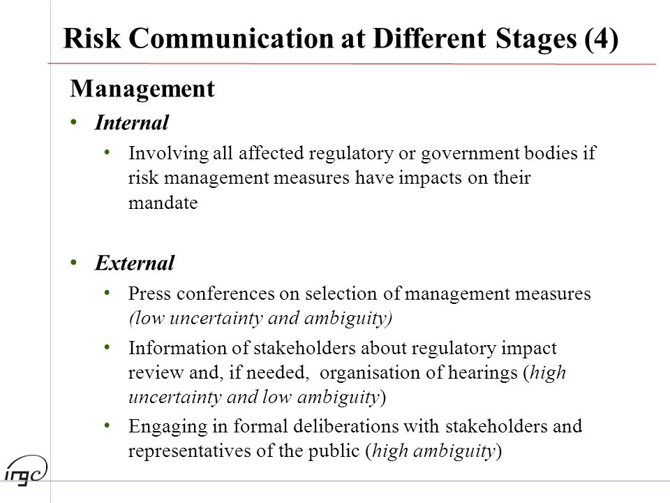 Management Internal Involving all affected regulatory or government bodies if risk management measures have impacts on their mandate External Press co