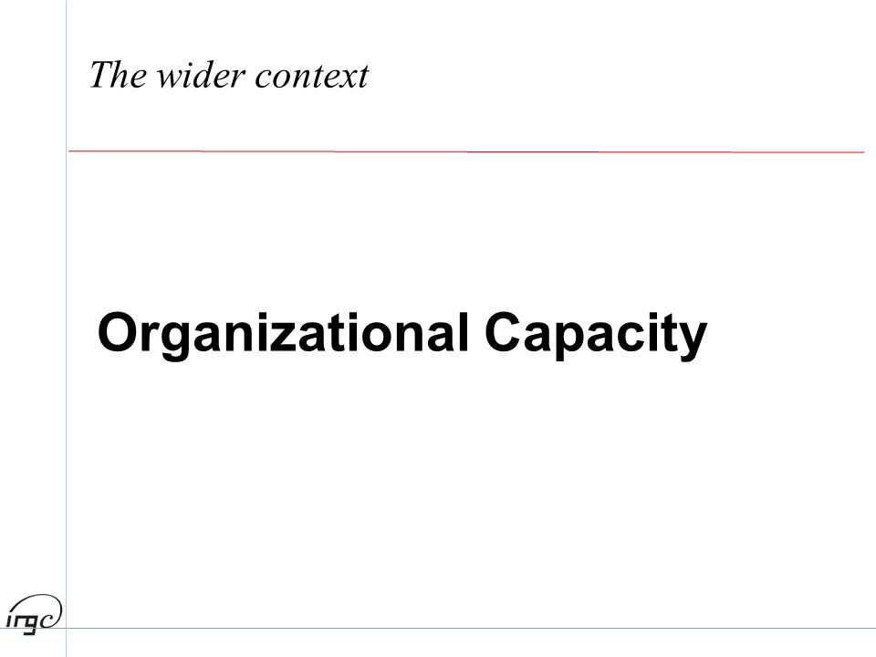 The wider context Organizational Capacity