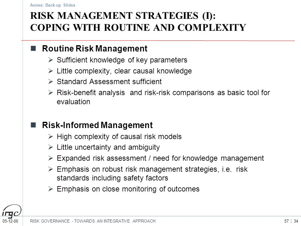 05-12-06RISK GOVERNANCE - TOWARDS AN INTEGRATIVE APPROACH 57 34 RISK MANAGEMENT STRATEGIES (I): COPING WITH ROUTINE AND COMPLEXITY Routine Risk Manage