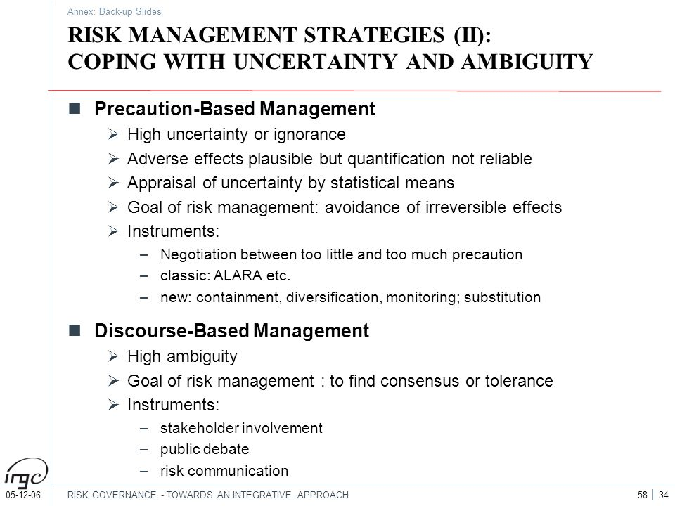 05-12-06RISK GOVERNANCE - TOWARDS AN INTEGRATIVE APPROACH 58 34 RISK MANAGEMENT STRATEGIES (II): COPING WITH UNCERTAINTY AND AMBIGUITY Precaution-Base