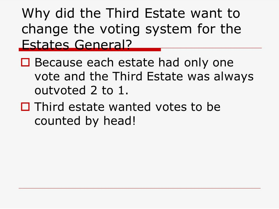 Why did the Third Estate want to change the voting system for the Estates General? Because each estate had only one vote and the Third Estate was alwa