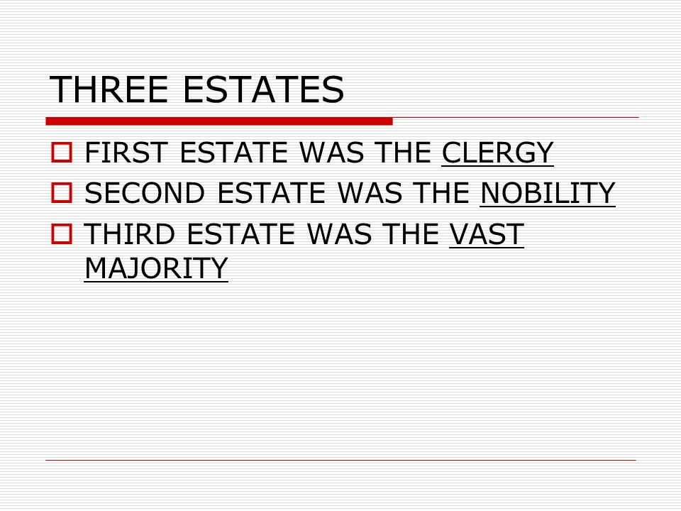 THREE ESTATES FIRST ESTATE WAS THE CLERGY SECOND ESTATE WAS THE NOBILITY THIRD ESTATE WAS THE VAST MAJORITY