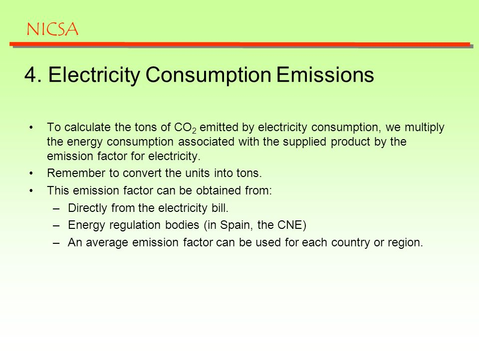 4. Electricity Consumption Emissions To calculate the tons of CO 2 emitted by electricity consumption, we multiply the energy consumption associated w