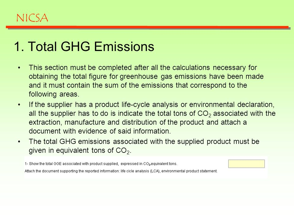 This section must be completed after all the calculations necessary for obtaining the total figure for greenhouse gas emissions have been made and it must contain the sum of the emissions that correspond to the following areas.