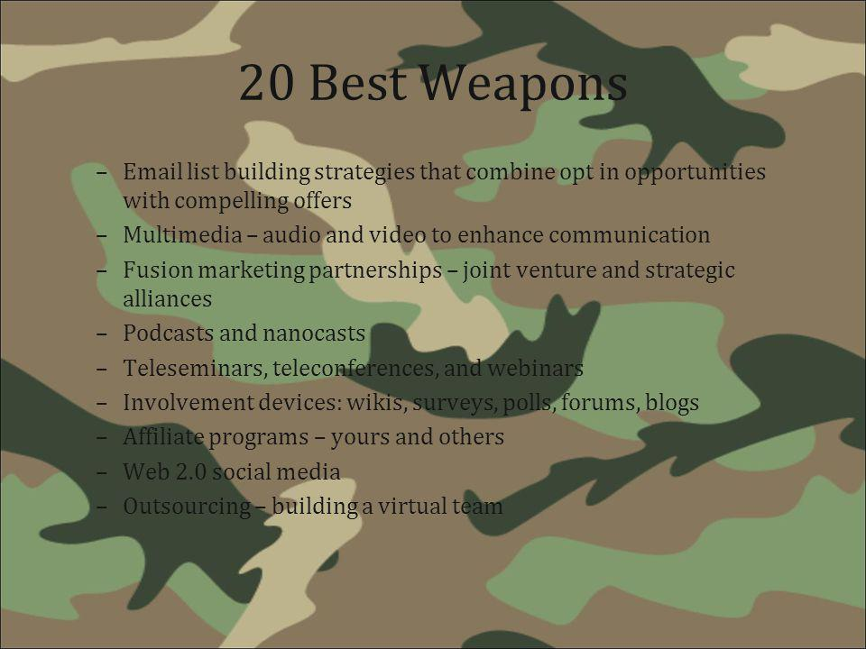 20 Best Weapons –Email list building strategies that combine opt in opportunities with compelling offers –Multimedia – audio and video to enhance comm