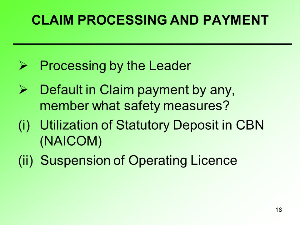 18 CLAIM PROCESSING AND PAYMENT Processing by the Leader Default in Claim payment by any, member what safety measures? (i)Utilization of Statutory Dep