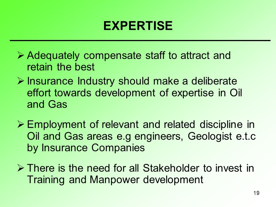 19 EXPERTISE Adequately compensate staff to attract and retain the best Insurance Industry should make a deliberate effort towards development of expertise in Oil and Gas Employment of relevant and related discipline in Oil and Gas areas e.g engineers, Geologist e.t.c by Insurance Companies There is the need for all Stakeholder to invest in Training and Manpower development