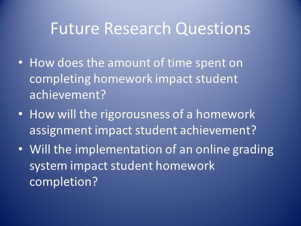 Future Research Questions How does the amount of time spent on completing homework impact student achievement? How will the rigorousness of a homework
