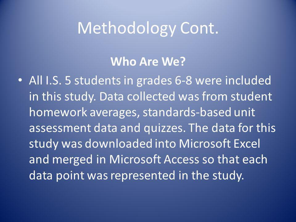 Methodology Cont. Who Are We? All I.S. 5 students in grades 6-8 were included in this study. Data collected was from student homework averages, standa