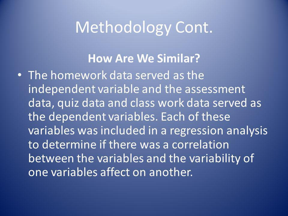 Methodology Cont. How Are We Similar? The homework data served as the independent variable and the assessment data, quiz data and class work data serv