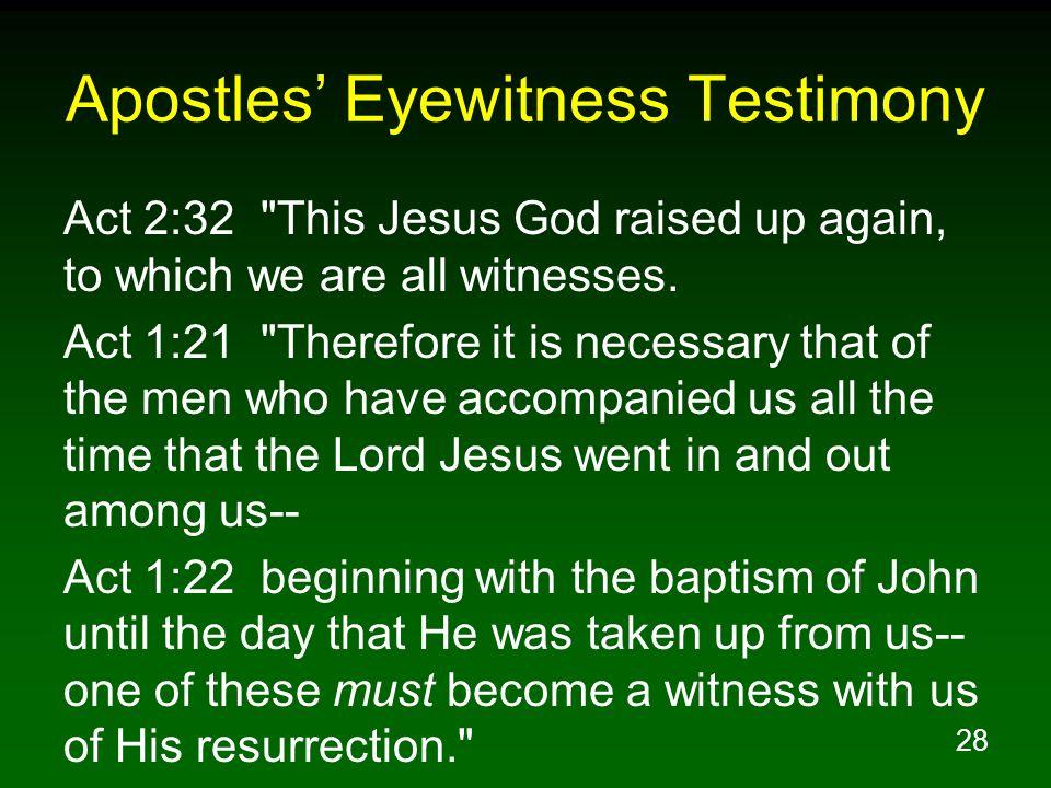 28 Apostles Eyewitness Testimony Act 2:32