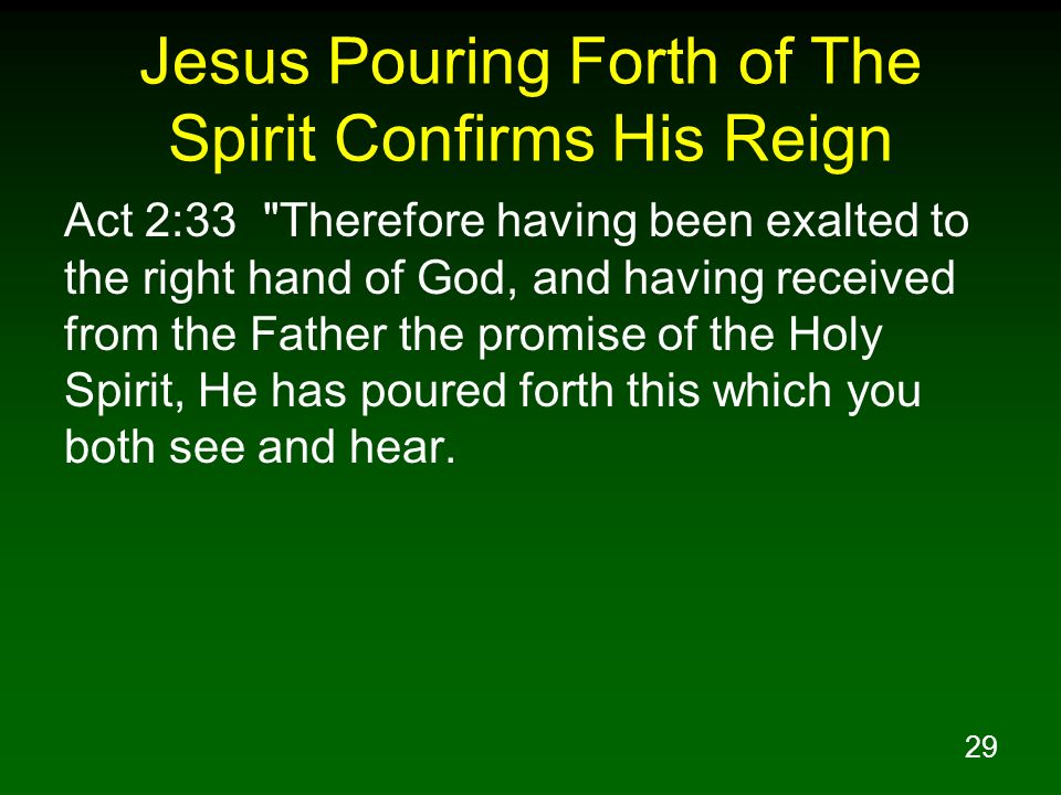 29 Jesus Pouring Forth of The Spirit Confirms His Reign Act 2:33