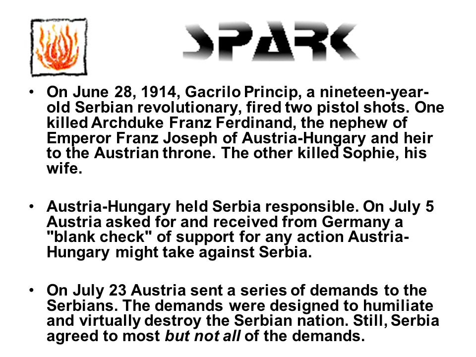 On June 28, 1914, Gacrilo Princip, a nineteen-year- old Serbian revolutionary, fired two pistol shots.
