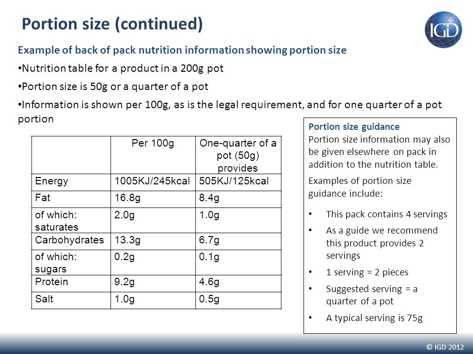 © IGD 2012 Portion size (continued) Portion size guidance Portion size information may also be given elsewhere on pack in addition to the nutrition table.