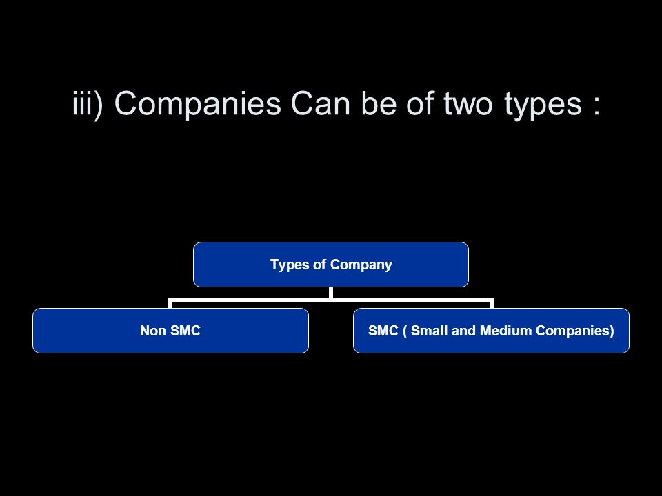 iii) Companies Can be of two types : Types of Company Non SMC SMC ( Small and Medium Companies)